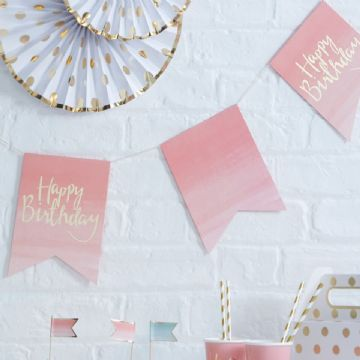 Pink & Gold Happy Birthday Bunting - 3m